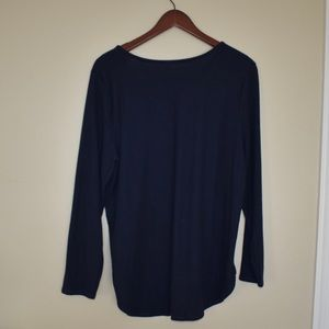 NWT Plush-Knit Scoop-Neck Tee Navy Blue
